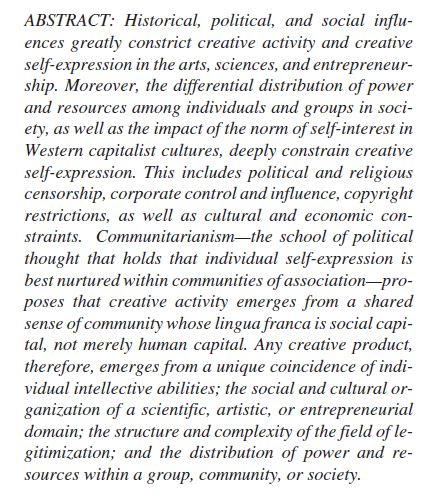 Political Economy Creativity
