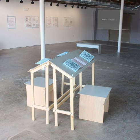 All the Steps in the Process, Installation view at Harvester Arts, 2015. Christine Wong Yap, drawings on walls, zine, furniture. Contributions from artist-collaborators screening on video.